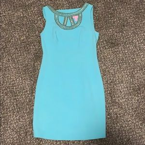 Teal sleeveless casual/formal above the knee dress
